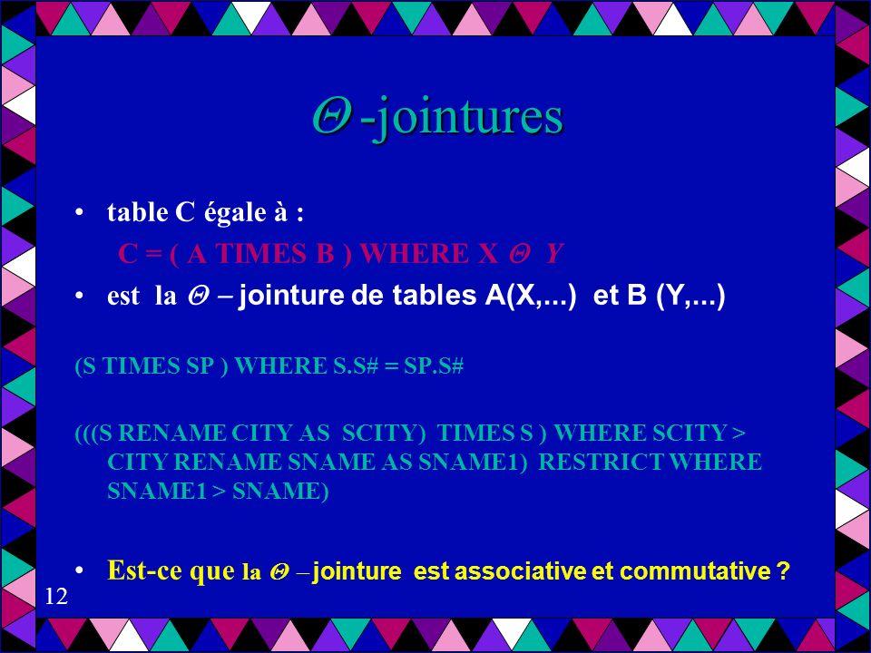 12 -jointures -jointures table C égale à : C = ( A TIMES B ) WHERE X Y est la jointure de tables A(X,...) et B (Y,...) (S TIMES SP ) WHERE S.S# = SP.S# (((S RENAME CITY AS SCITY) TIMES S ) WHERE SCITY > CITY RENAME SNAME AS SNAME1) RESTRICT WHERE SNAME1 > SNAME) Est-ce que la jointure est associative et commutative ?