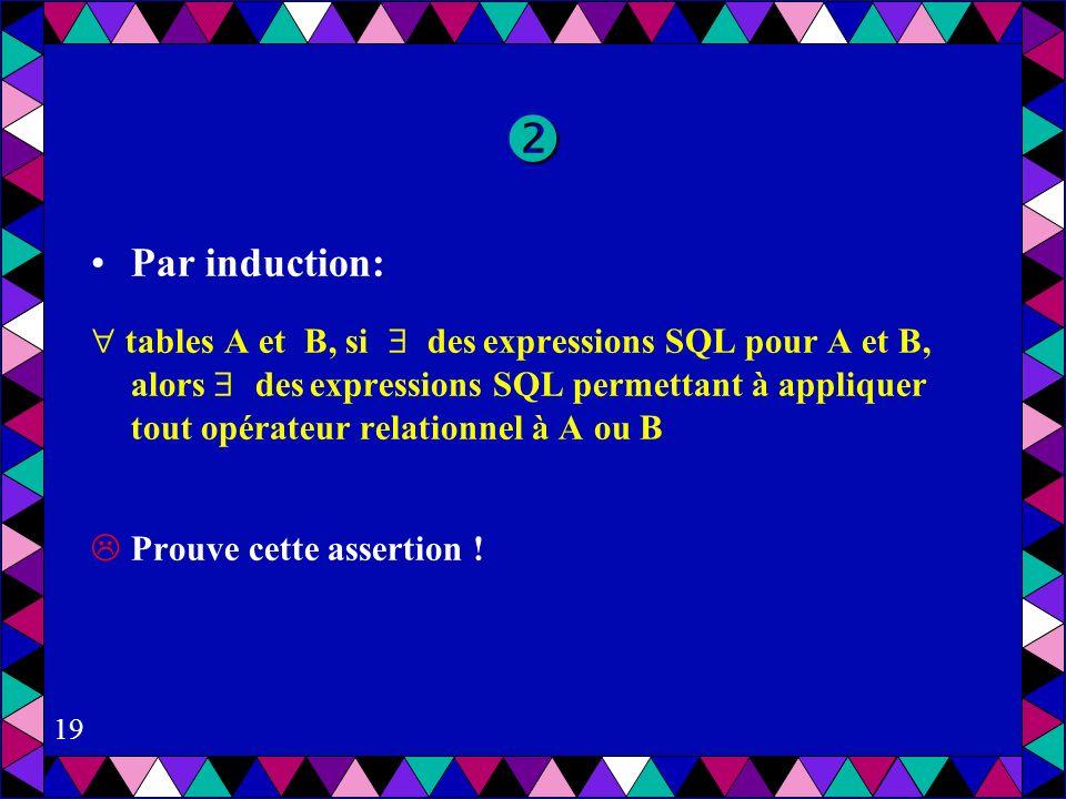19 Par induction: tables A et B, si des expressions SQL pour A et B, alors des expressions SQL permettant à appliquer tout opérateur relationnel à A ou B Prouve cette assertion !