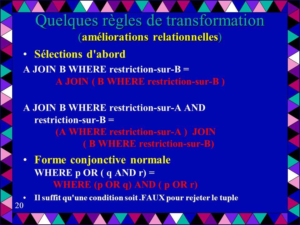 20 Quelques règles de transformation (améliorations relationnelles) Sélections d abord A JOIN B WHERE restriction-sur-B = A JOIN ( B WHERE restriction-sur-B ) A JOIN B WHERE restriction-sur-A AND restriction-sur-B = (A WHERE restriction-sur-A ) JOIN ( B WHERE restriction-sur-B) Forme conjonctive normale WHERE p OR ( q AND r) = WHERE (p OR q) AND ( p OR r) Il suffit qu une condition soit.FAUX pour rejeter le tuple