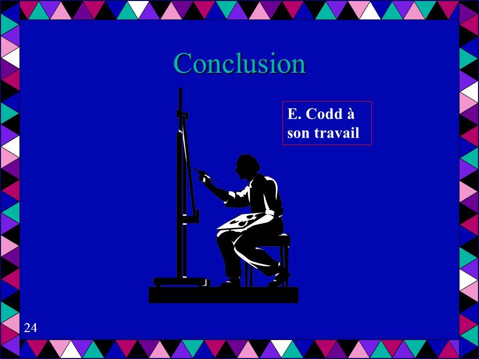 24 Conclusion E. Codd à son travail