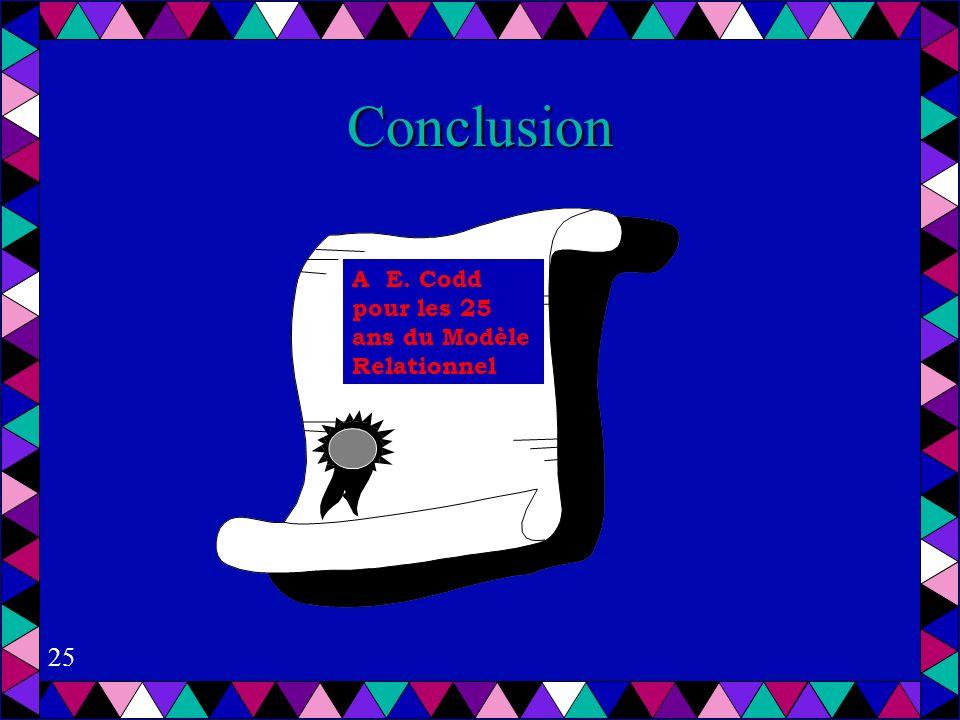 25 Conclusion A E. Codd pour les 25 ans du Modèle Relationnel