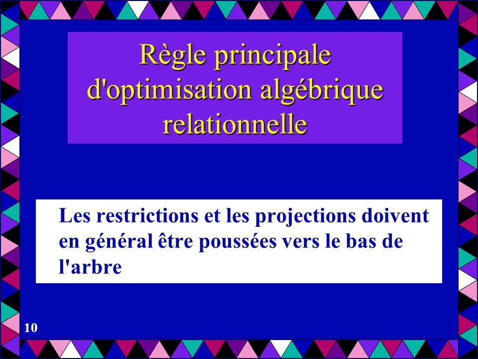 10 Règle principale d'optimisation algébrique relationnelle Les restrictions et les projections doivent en général être poussées vers le bas de l'arbr