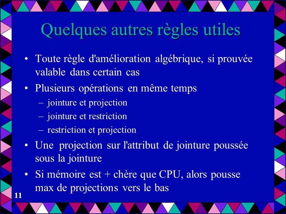 11 Quelques autres règles utiles Toute règle d'amélioration algébrique, si prouvée valable dans certain cas Plusieurs opérations en même temps –jointu