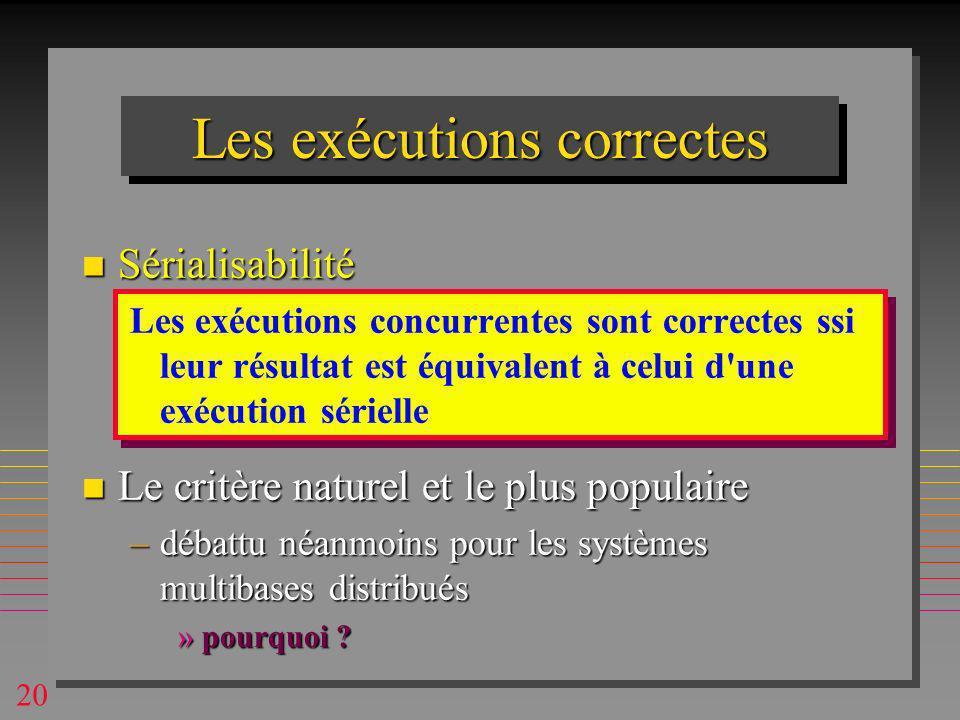 20 Les exécutions correctes n Sérialisabilité Les exécutions concurrentes sont correctes ssi leur résultat est équivalent à celui d une exécution sérielle n Le critère naturel et le plus populaire –débattu néanmoins pour les systèmes multibases distribués »pourquoi