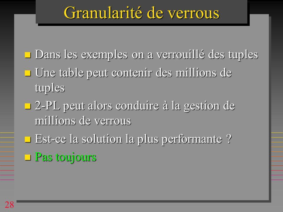 28 n Dans les exemples on a verrouillé des tuples n Une table peut contenir des millions de tuples n 2-PL peut alors conduire à la gestion de millions de verrous n Est-ce la solution la plus performante .
