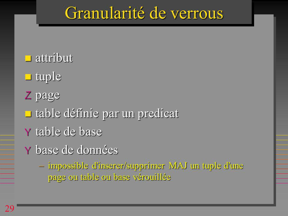 29 Granularité de verrous n attribut n tuple Z page n table définie par un predicat Y table de base Y base de données –impossible d inserer/supprimer MAJ un tuple d une page ou table ou base vérouillée