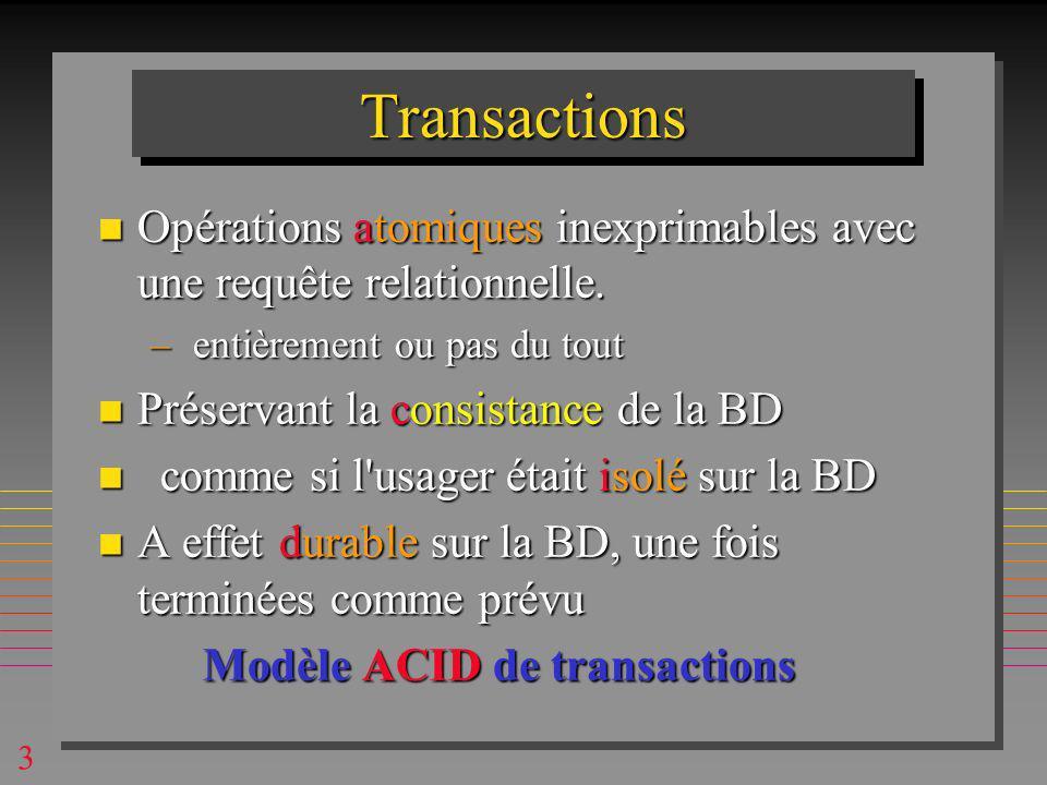 4 Primitives de gestion de transactions n BEGIN, COMMIT, ROLLBACK BEGIN TRANSACTION UPDATE Compte1 Val = Val -100 IF SQLCODE <> 0 ROLLBACK ; EXIT ; UPDATE Compte2 Val = Val + 100 IF SQLCODE <> 0 ROLLBACK ; EXIT; COMMIT