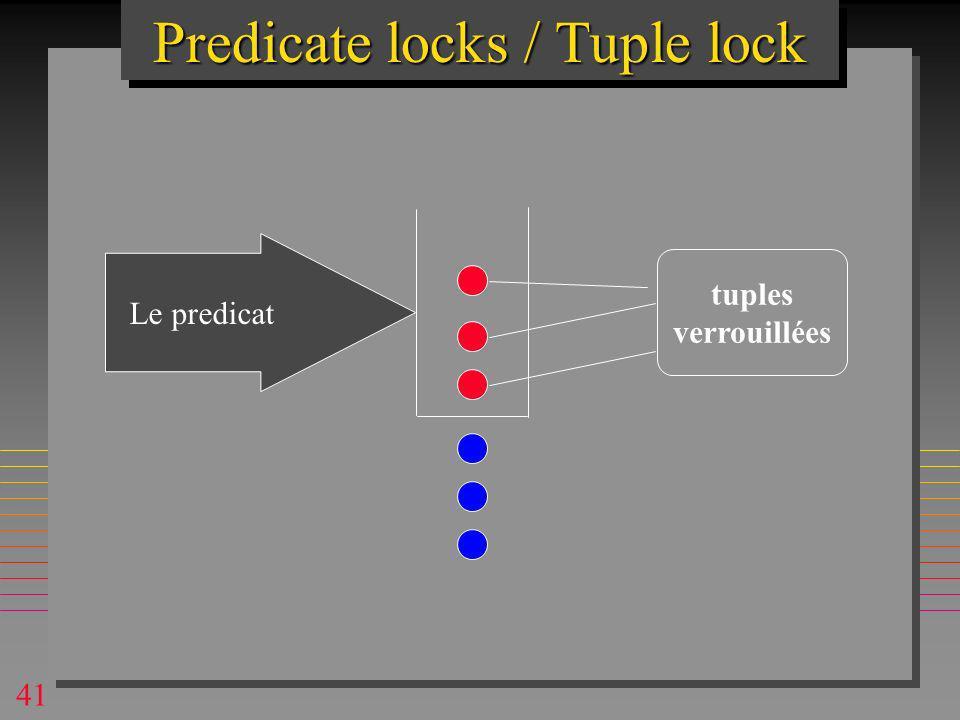41 Predicate locks / Tuple lock Le predicat tuples verrouillées