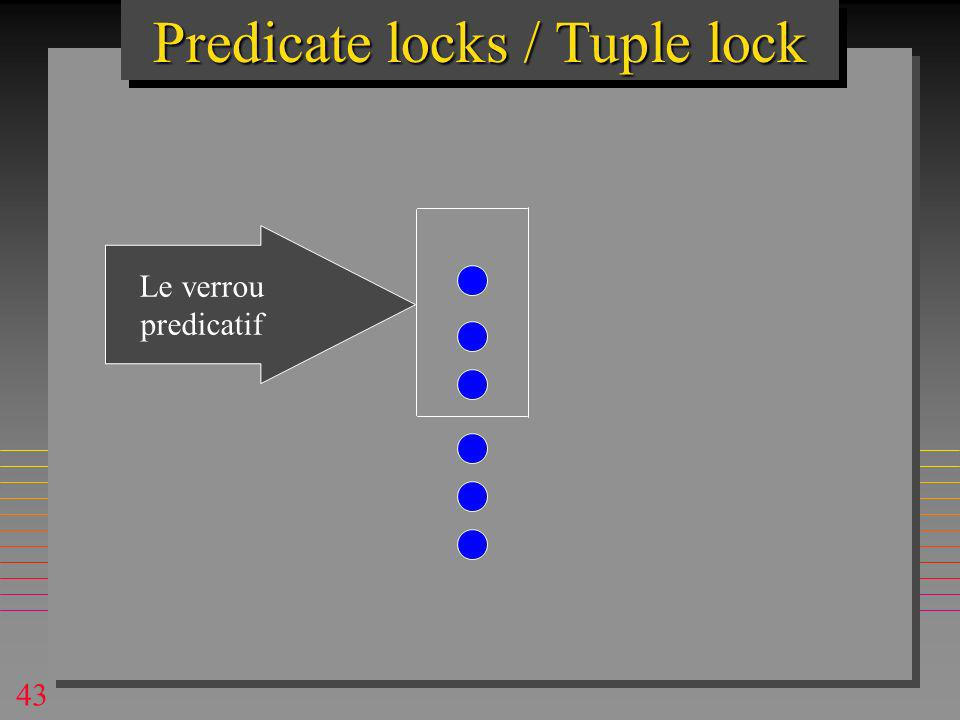 43 Predicate locks / Tuple lock Le verrou predicatif
