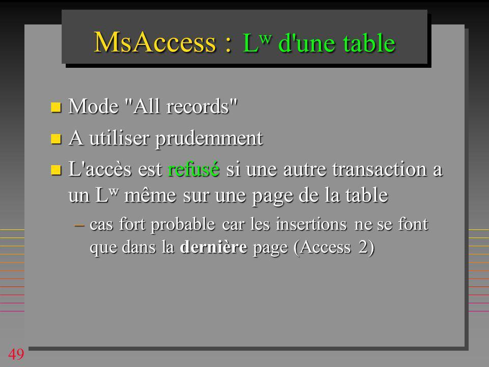 49 MsAccess : L w d une table n Mode All records n A utiliser prudemment n L accès est refusé si une autre transaction a un L w même sur une page de la table –cas fort probable car les insertions ne se font que dans la dernière page (Access 2)