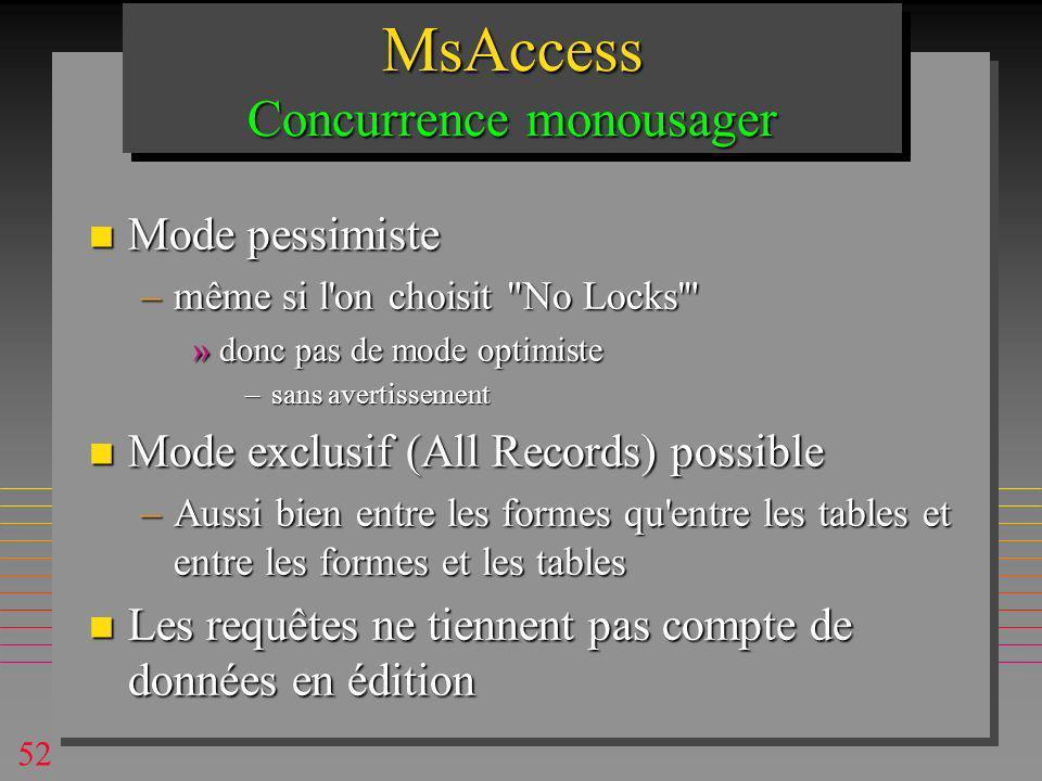 52 MsAccess Concurrence monousager n Mode pessimiste –même si l on choisit No Locks »donc pas de mode optimiste –sans avertissement n Mode exclusif (All Records) possible –Aussi bien entre les formes qu entre les tables et entre les formes et les tables n Les requêtes ne tiennent pas compte de données en édition