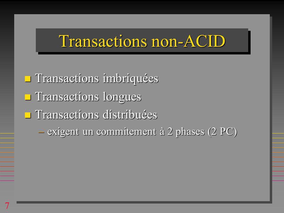 7 Transactions non-ACID n Transactions imbriquées n Transactions longues n Transactions distribuées –exigent un commitement à 2 phases (2 PC)