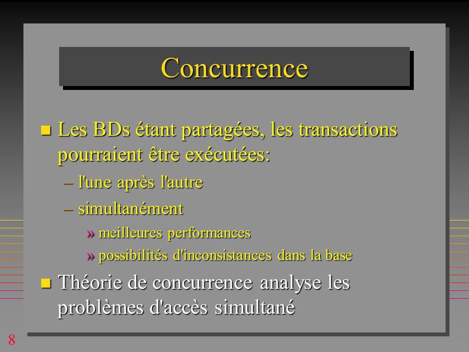 8 ConcurrenceConcurrence n Les BDs étant partagées, les transactions pourraient être exécutées: –l une après l autre –simultanément »meilleures performances »possibilités d inconsistances dans la base n Théorie de concurrence analyse les problèmes d accès simultané