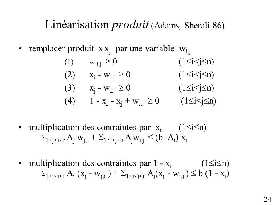 Linéarisation produit (Adams, Sherali 86) remplacer produit x i x j par une variable w i,j (1) w i,j 0(1 i<j n) (2) x i - w i,j 0(1 i<j n) (3) x j - w