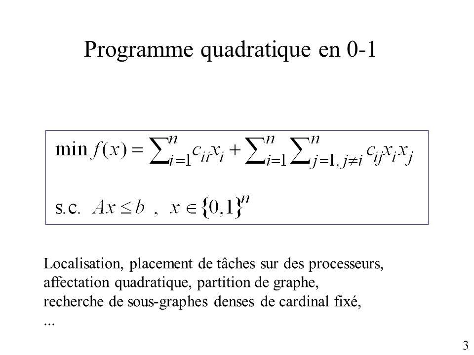 Programme quadratique en 0-1 Localisation, placement de tâches sur des processeurs, affectation quadratique, partition de graphe, recherche de sous-gr