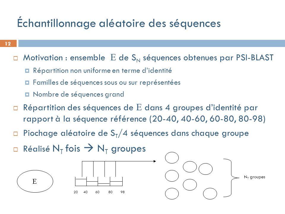 12 20 40 60 80 98 Échantillonnage aléatoire des séquences Motivation : ensemble de S N séquences obtenues par PSI-BLAST Répartition non uniforme en terme didentité Familles de séquences sous ou sur représentées Nombre de séquences grand Répartition des séquences de dans 4 groupes didentité par rapport à la séquence référence (20-40, 40-60, 60-80, 80-98) Piochage aléatoire de S T /4 séquences dans chaque groupe Réalisé N T fois N T groupes N T groupes