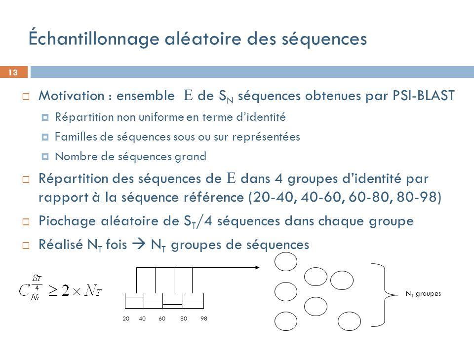 13 20 40 60 80 98 Échantillonnage aléatoire des séquences Motivation : ensemble de S N séquences obtenues par PSI-BLAST Répartition non uniforme en terme didentité Familles de séquences sous ou sur représentées Nombre de séquences grand Répartition des séquences de dans 4 groupes didentité par rapport à la séquence référence (20-40, 40-60, 60-80, 80-98) Piochage aléatoire de S T /4 séquences dans chaque groupe Réalisé N T fois N T groupes de séquences N T groupes