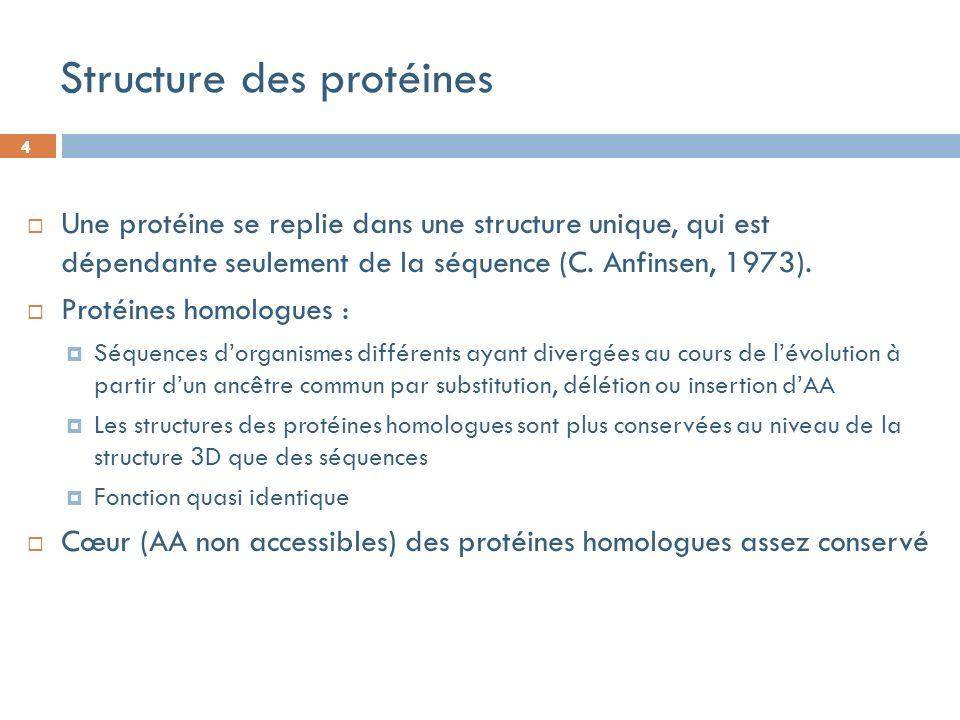 4 Structure des protéines Une protéine se replie dans une structure unique, qui est dépendante seulement de la séquence (C.