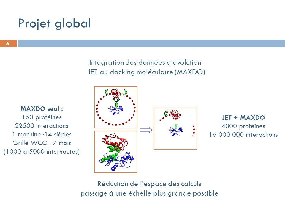 6 Intégration des données dévolution JET au docking moléculaire (MAXDO) Barnase/barstar Réduction de lespace des calculs passage à une échelle plus grande possible Projet global MAXDO seul : 150 protéines 22500 interactions 1 machine :14 siècles Grille WCG : 7 mois (1000 à 5000 internautes) JET + MAXDO 4000 protéines 16 000 000 interactions
