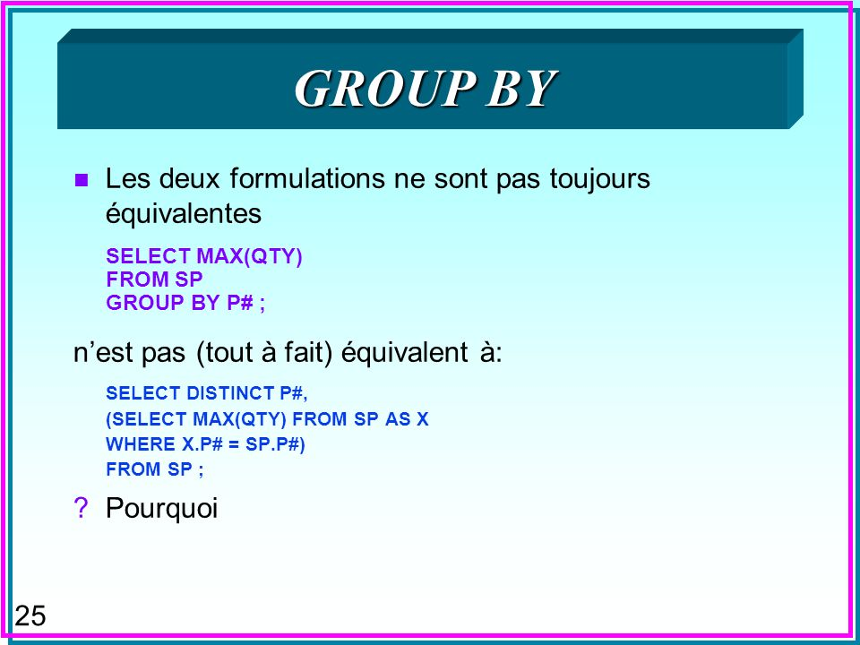 25 GROUP BY n Les deux formulations ne sont pas toujours équivalentes SELECT MAX(QTY) FROM SP GROUP BY P# ; nest pas (tout à fait) équivalent à: SELECT DISTINCT P#, (SELECT MAX(QTY) FROM SP AS X WHERE X.P# = SP.P#) FROM SP ; Pourquoi