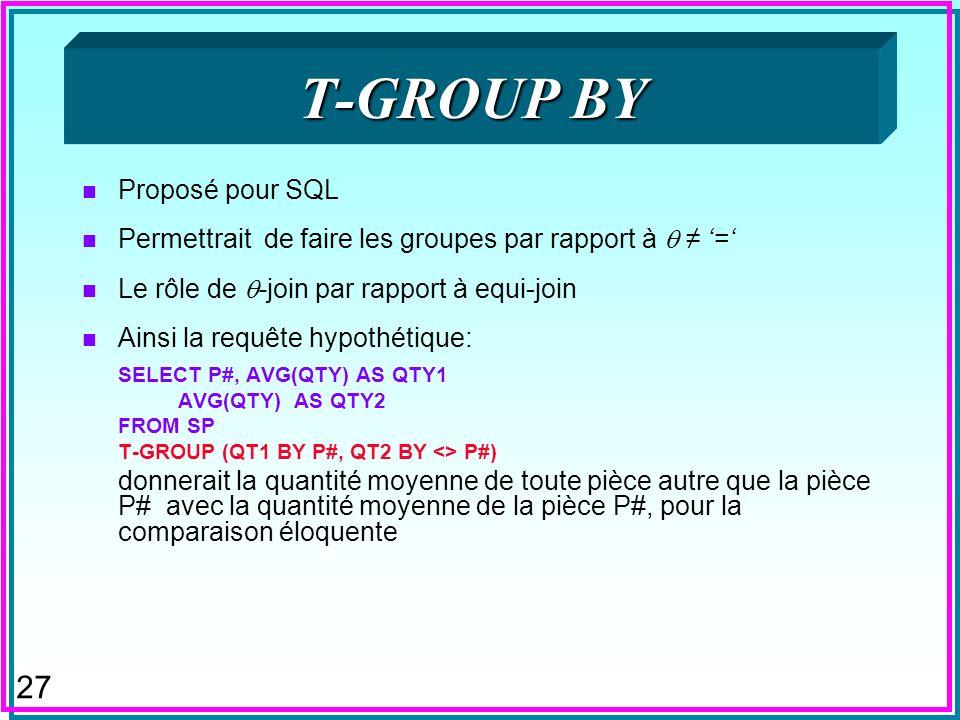 27 T-GROUP BY n Proposé pour SQL n Permettrait de faire les groupes par rapport à = n Le rôle de -join par rapport à equi-join n Ainsi la requête hypo