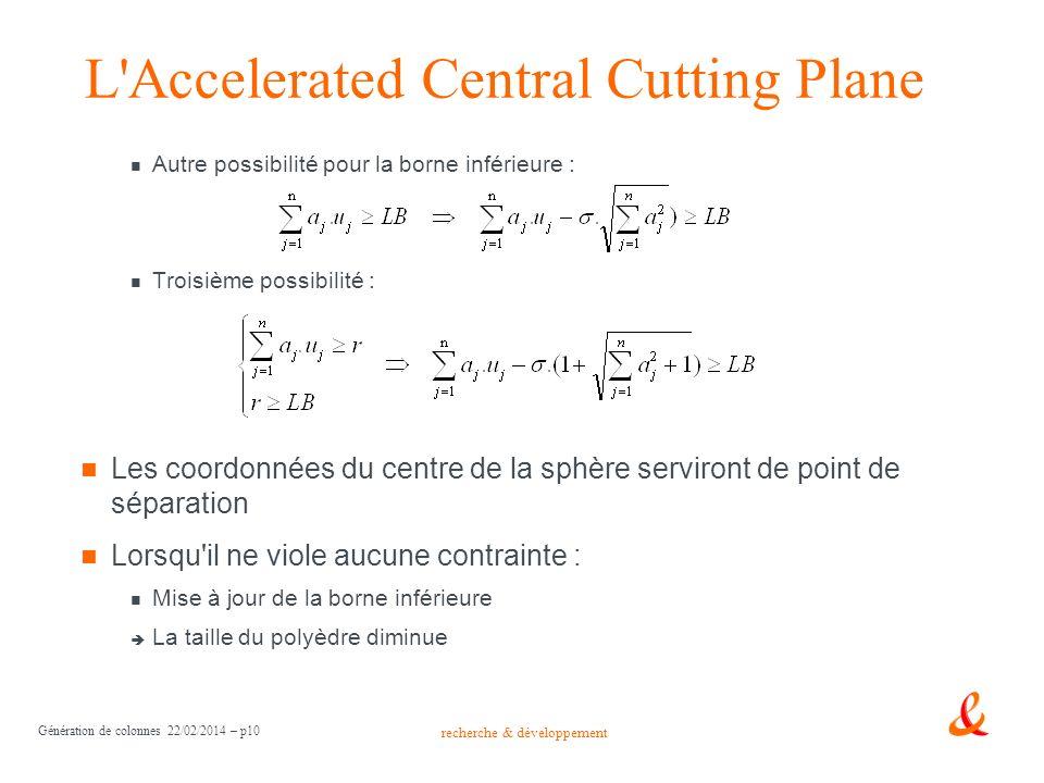 recherche & développement L'Accelerated Central Cutting Plane Autre possibilité pour la borne inférieure : Troisième possibilité : Les coordonnées du
