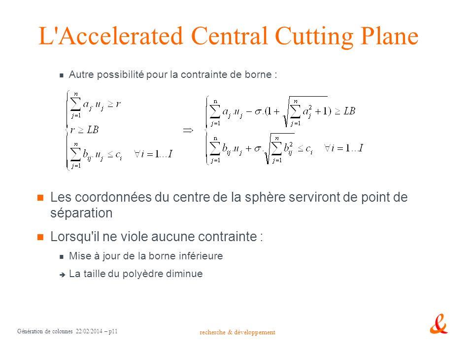 recherche & développement Génération de colonnes 22/02/2014 – p11 L'Accelerated Central Cutting Plane Autre possibilité pour la contrainte de borne :