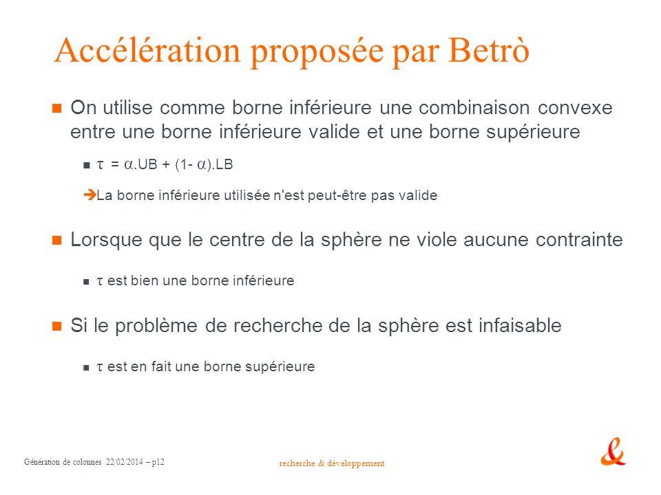 recherche & développement Génération de colonnes 22/02/2014 – p12 Accélération proposée par Betrò On utilise comme borne inférieure une combinaison co