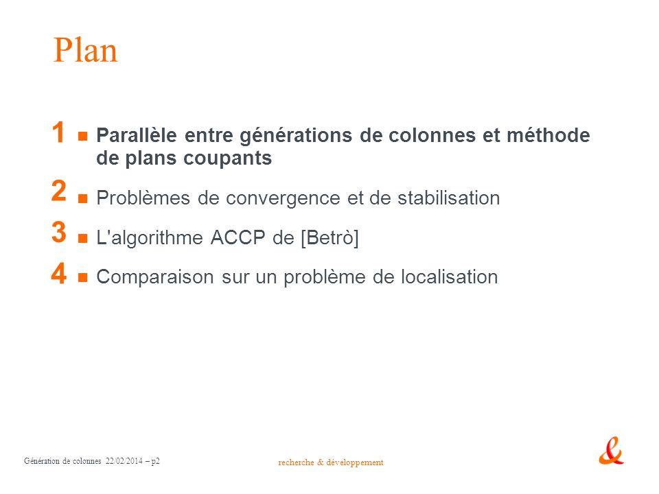 recherche & développement Génération de colonnes 22/02/2014 – p2 Parallèle entre générations de colonnes et méthode de plans coupants Problèmes de con