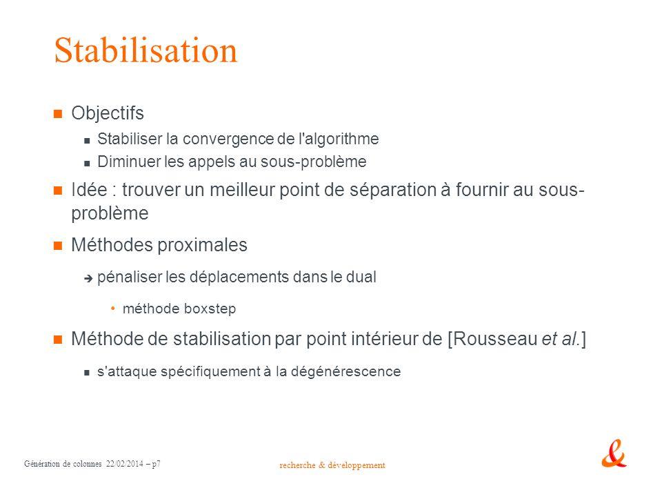 recherche & développement Génération de colonnes 22/02/2014 – p7 Stabilisation Objectifs Stabiliser la convergence de l'algorithme Diminuer les appels