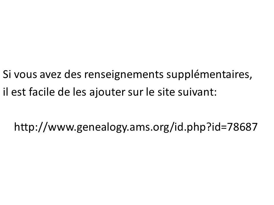 Si vous avez des renseignements supplémentaires, il est facile de les ajouter sur le site suivant: http://www.genealogy.ams.org/id.php?id=78687