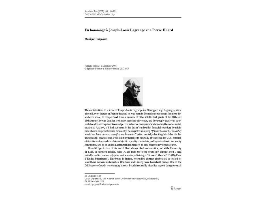 Stabilité numérique Une nouvelle méthode pour résoudre des systèmes linéaires denses a été publiée par Huard (E.