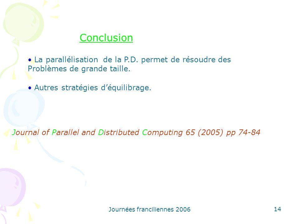 Journées franciliennes 2006 14 La parallélisation de la P.D. permet de résoudre des Problèmes de grande taille. Autres stratégies déquilibrage. Journa