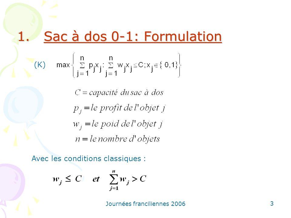 Journées franciliennes 2006 3 1.Sac à dos 0-1: Formulation Avec les conditions classiques : (K)