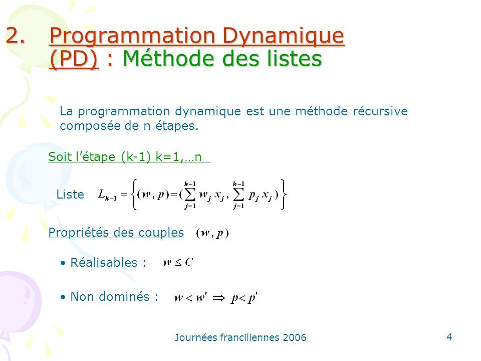Journées franciliennes 2006 4 2.Programmation Dynamique (PD) : Méthode des listes La programmation dynamique est une méthode récursive composée de n é