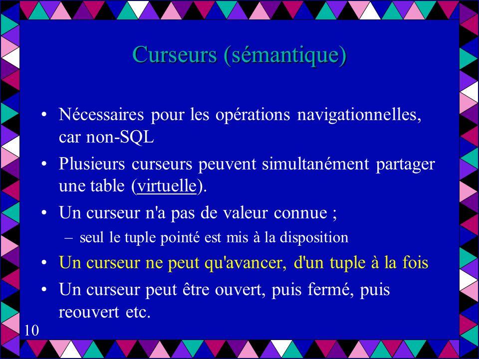 10 Curseurs (sémantique) Nécessaires pour les opérations navigationnelles, car non-SQL Plusieurs curseurs peuvent simultanément partager une table (virtuelle).