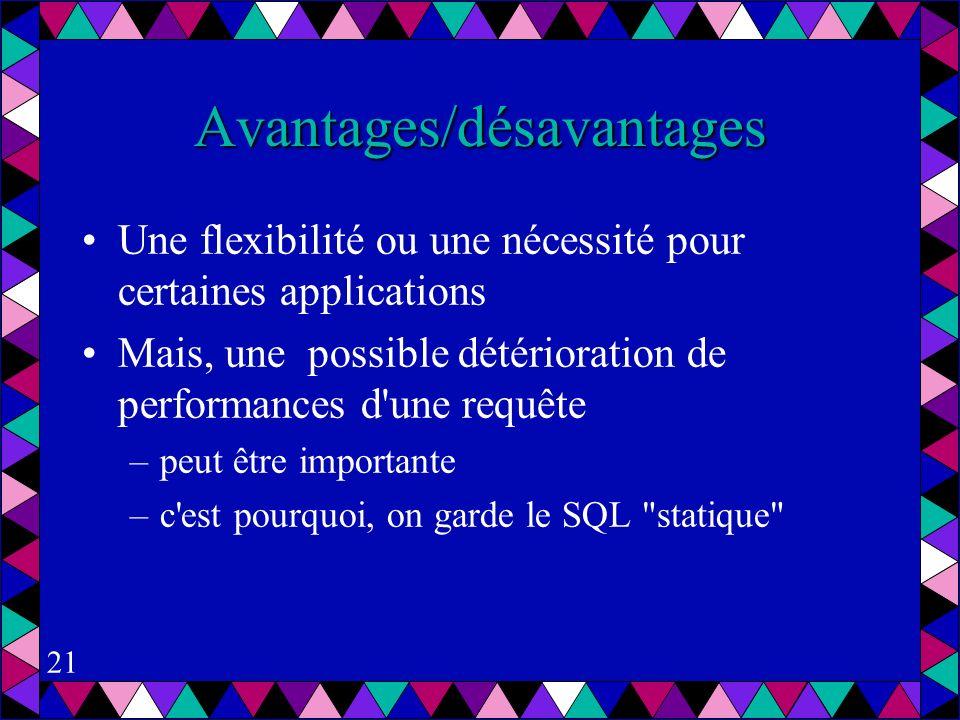 21 Avantages/désavantages Une flexibilité ou une nécessité pour certaines applications Mais, une possible détérioration de performances d une requête –peut être importante –c est pourquoi, on garde le SQL statique