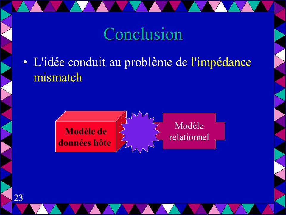 23 Conclusion L idée conduit au problème de l impédance mismatch Modèle de données hôte Modèle relationnel