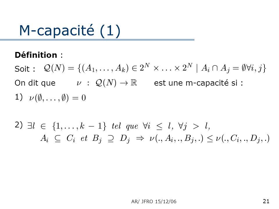 AR/ JFRO 15/12/06 21 Définition : Soit : On dit que est une m-capacité si : 1) 2) M-capacité (1)