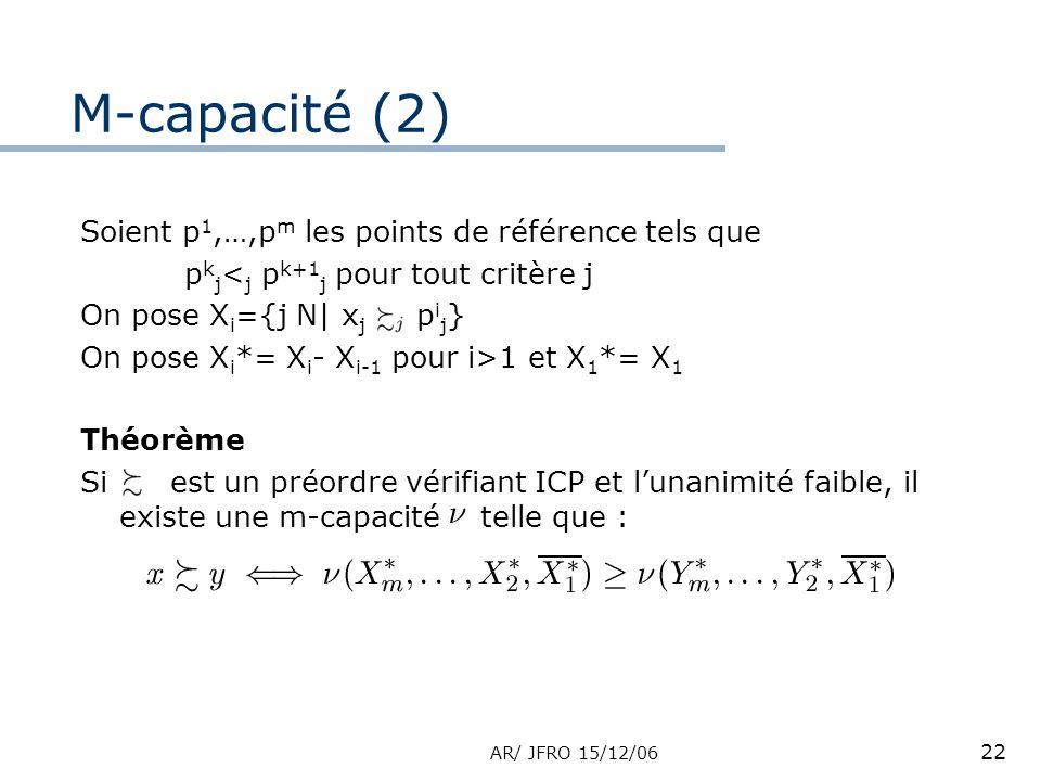 AR/ JFRO 15/12/06 22 Soient p 1,…,p m les points de référence tels que p k j < j p k+1 j pour tout critère j On pose X i ={j N| x j p i j } On pose X i *= X i - X i-1 pour i>1 et X 1 *= X 1 Théorème Si est un préordre vérifiant ICP et lunanimité faible, il existe une m-capacité telle que : M-capacité (2)