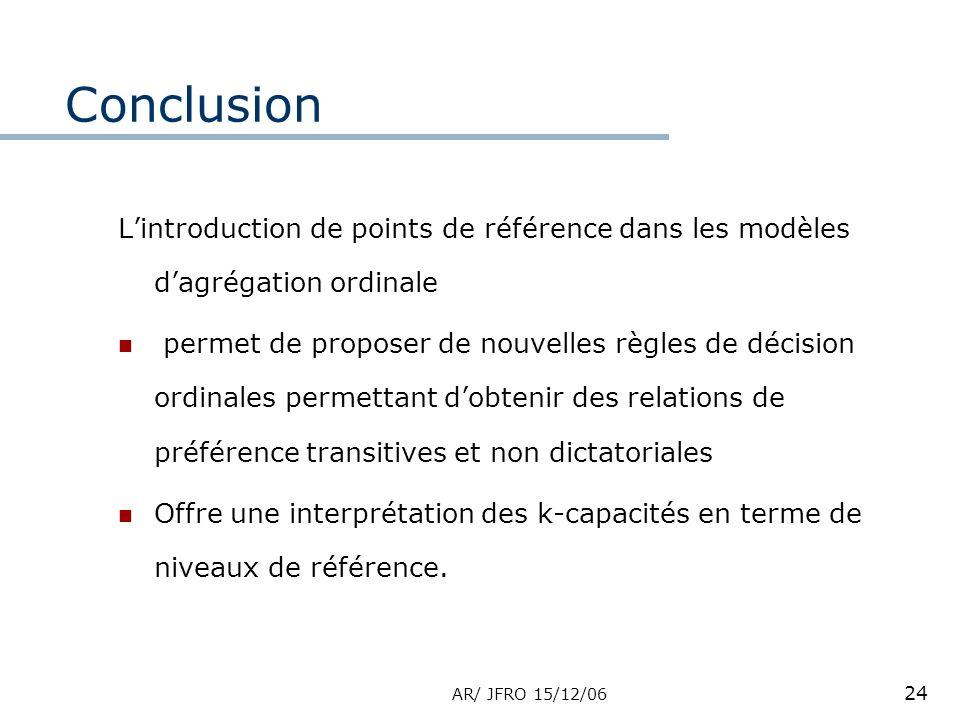 AR/ JFRO 15/12/06 24 Conclusion Lintroduction de points de référence dans les modèles dagrégation ordinale permet de proposer de nouvelles règles de d