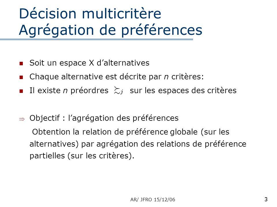 AR/ JFRO 15/12/06 3 Décision multicritère Agrégation de préférences Soit un espace X dalternatives Chaque alternative est décrite par n critères: Il existe n préordres sur les espaces des critères Objectif : lagrégation des préférences Obtention la relation de préférence globale (sur les alternatives) par agrégation des relations de préférence partielles (sur les critères).