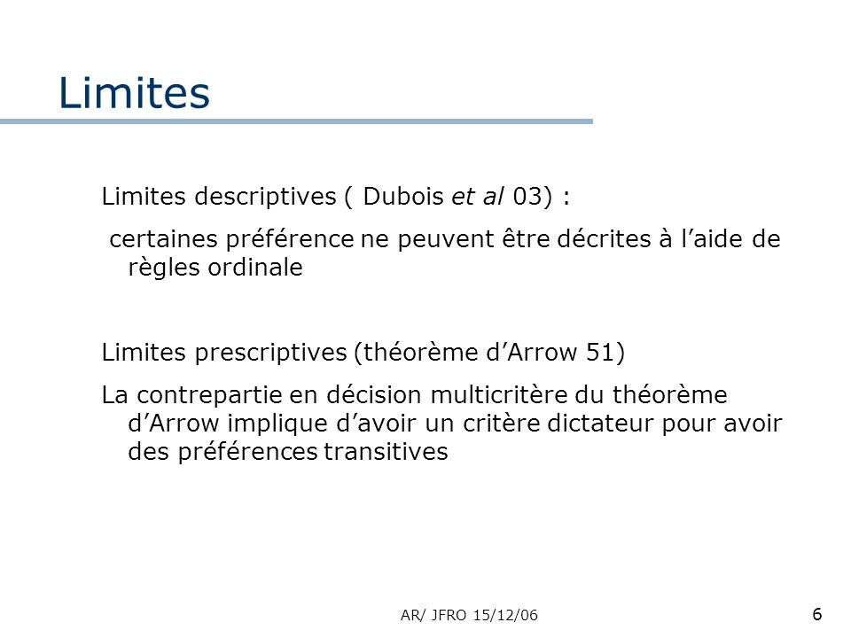 AR/ JFRO 15/12/06 6 Limites Limites descriptives ( Dubois et al 03) : certaines préférence ne peuvent être décrites à laide de règles ordinale Limites