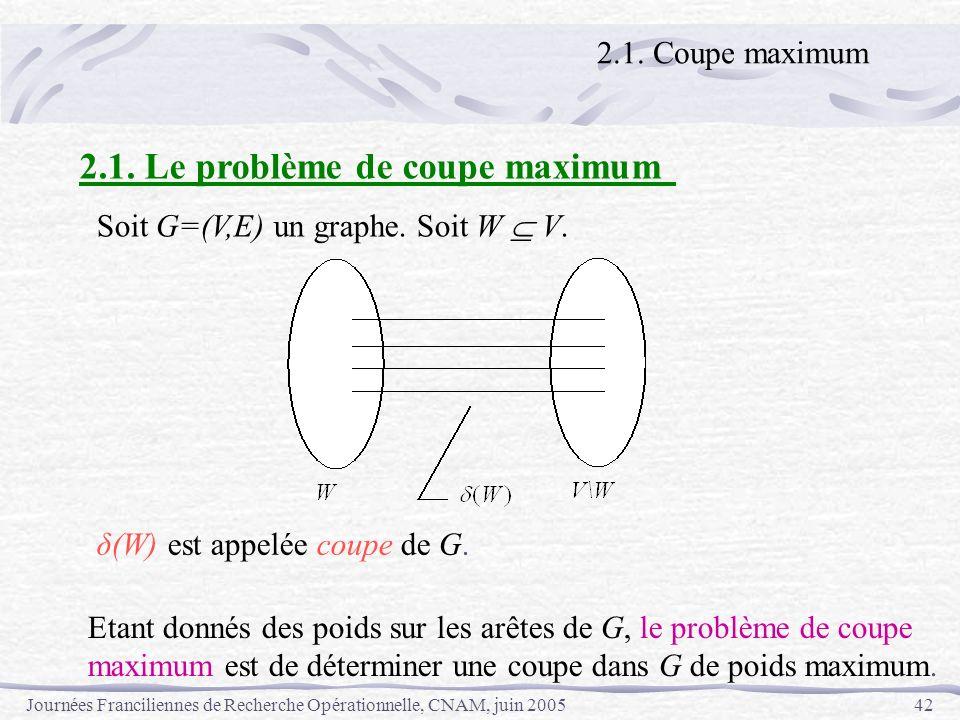 Journées Franciliennes de Recherche Opérationnelle, CNAM, juin 200542 2.1. Coupe maximum 2.1. Le problème de coupe maximum Soit G=(V,E) un graphe. Soi