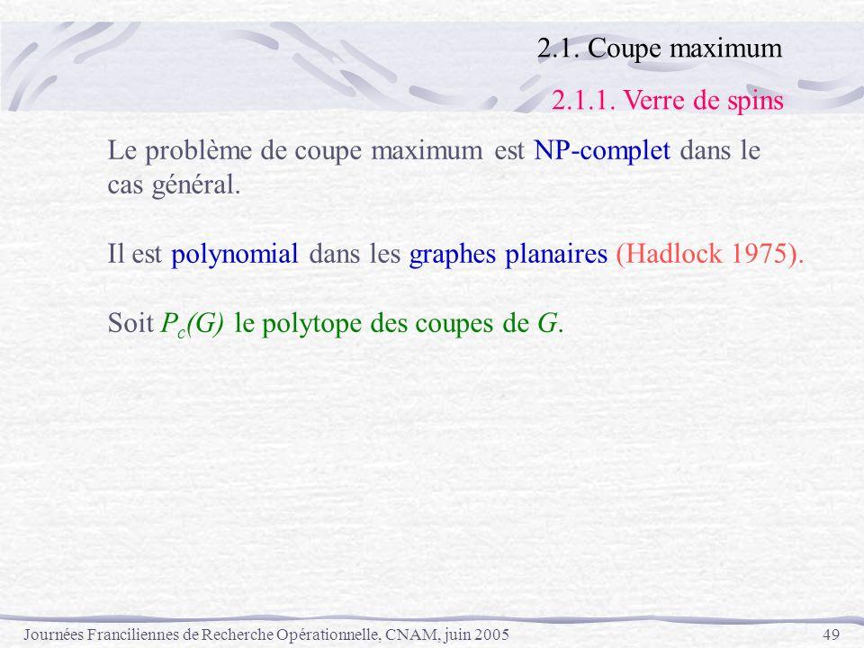Journées Franciliennes de Recherche Opérationnelle, CNAM, juin 200549 Le problème de coupe maximum est NP-complet dans le cas général. Il est polynomi