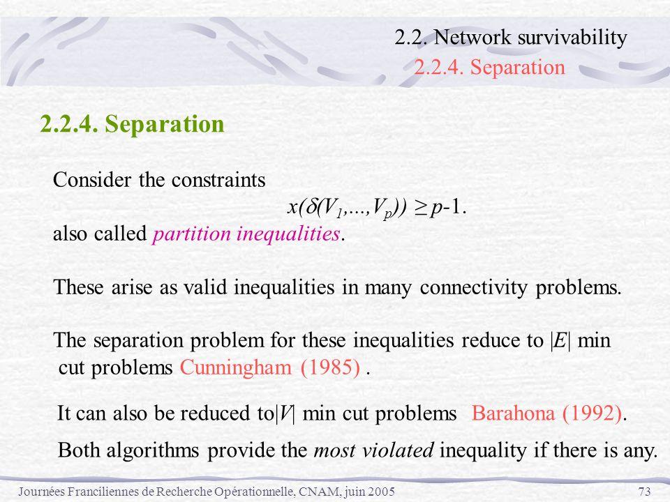 Journées Franciliennes de Recherche Opérationnelle, CNAM, juin 200573 Consider the constraints x( (V 1,...,V p )) p-1. also called partition inequalit