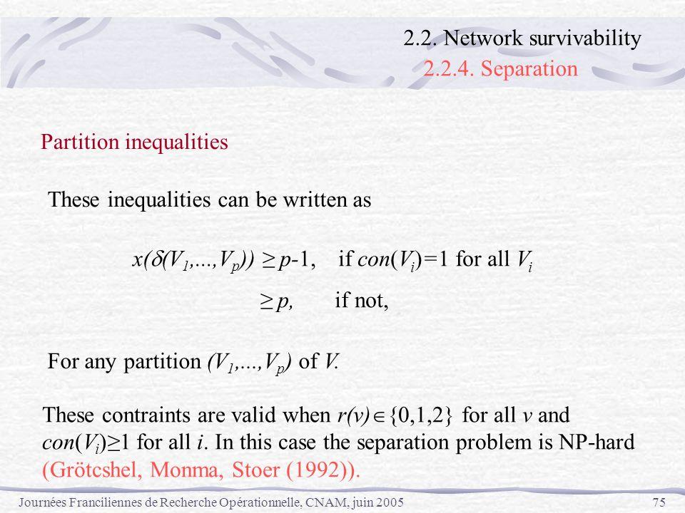 Journées Franciliennes de Recherche Opérationnelle, CNAM, juin 200575 x( (V 1,...,V p )) p-1,if con(V i )=1 for all V i p, if not, Partition inequalit