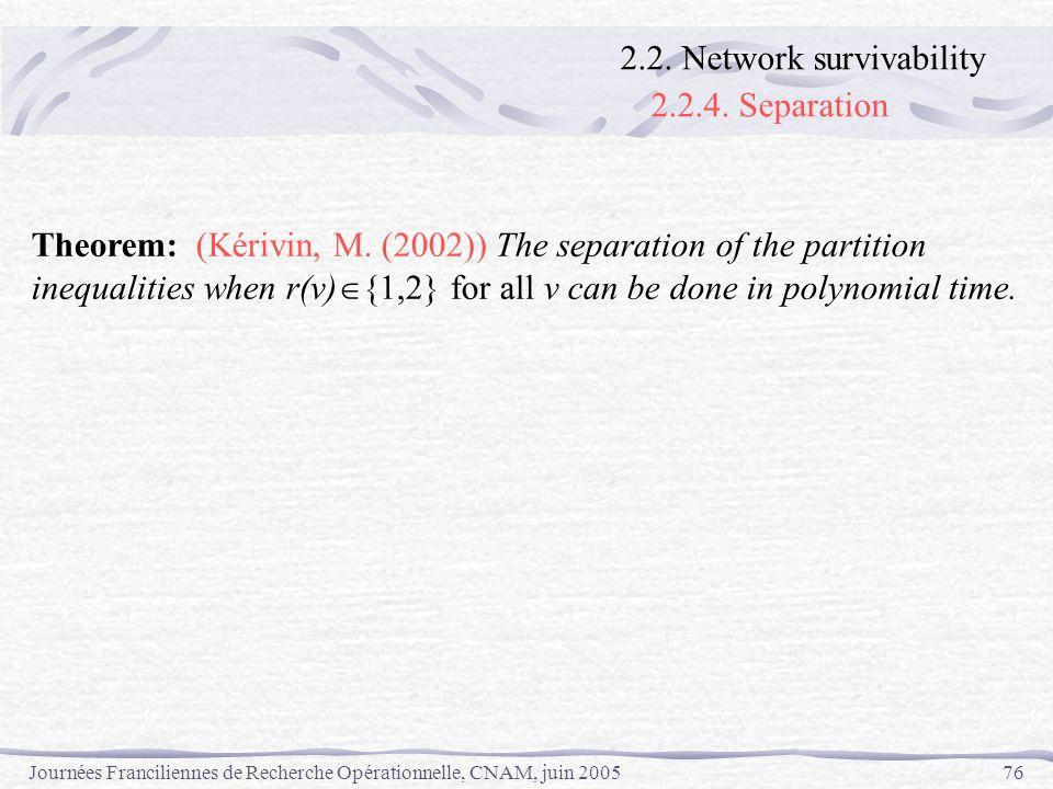 Journées Franciliennes de Recherche Opérationnelle, CNAM, juin 200576 Theorem: (Kérivin, M. (2002)) The separation of the partition inequalities when