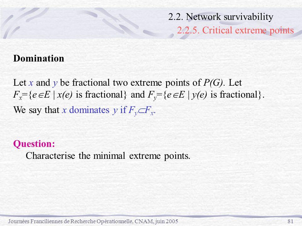 Journées Franciliennes de Recherche Opérationnelle, CNAM, juin 200581 Domination Let x and y be fractional two extreme points of P(G). Let F x ={e E |