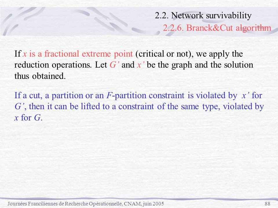 Journées Franciliennes de Recherche Opérationnelle, CNAM, juin 200588 If x is a fractional extreme point (critical or not), we apply the reduction ope